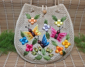 Raffia Handbag Butterfly Flower Design Tote Purse Woven Straw Burlap Style Firm Stiff Thin Flat Colorful Beige Vintage FREE SHIPPING (801)