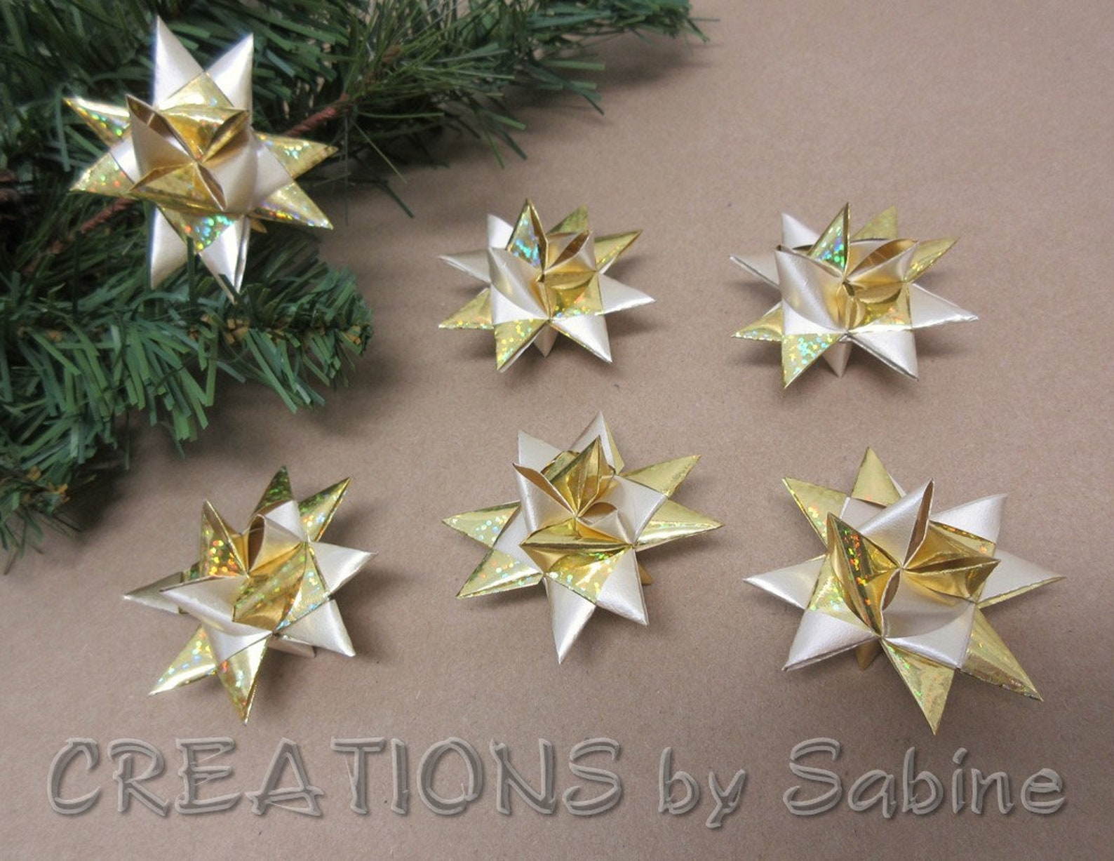 Mini Stars Christmas Ornaments Set of 6 Gold Tiny Ribbon Stars Froebel