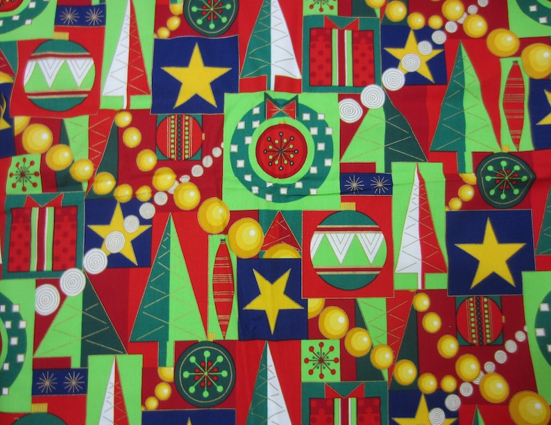 Yards 100/% Cotton Cool Yule Alexander Henry Collection Colorful Contrast Trees Stars Garlands Gifts Red Green White Blue Christmas Fabric 3