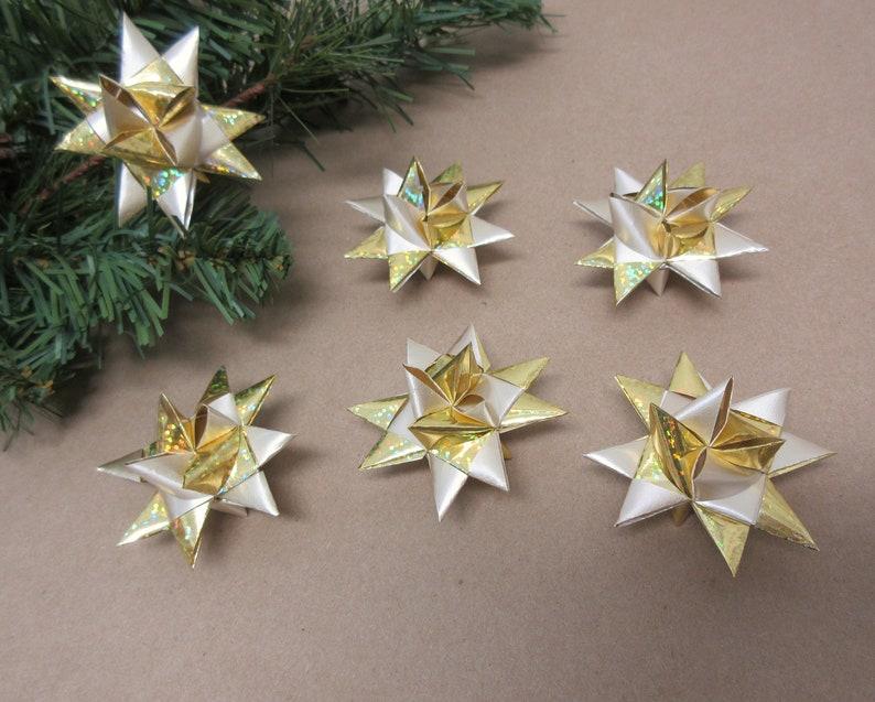 158 Mini Stars Christmas Ornaments Set of 6 Gold Tiny Ribbon Stars Froebel Small Miniature Origami Satin Shiny Finish READY to SHIP