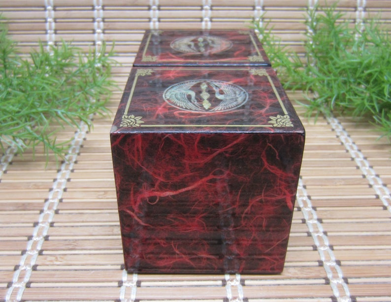 710 Asian Jewelry Keepsake Box Hinged 4 Drawers Crane Birds Flower Design Burgundy Marbled Lacquer Gold Vintage Collectible FREE SHIPPING