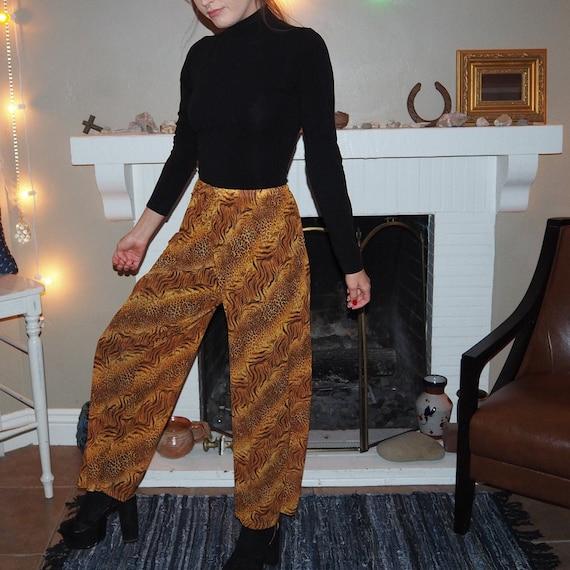 animal print mesh pants - image 2