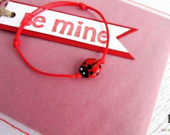 Ladybug bracelet, Adjustable kid bracelet, Hand-painted resin Ladybug jewelry, Hand-painted bracelet, miniature bracelets, miniature jewelry