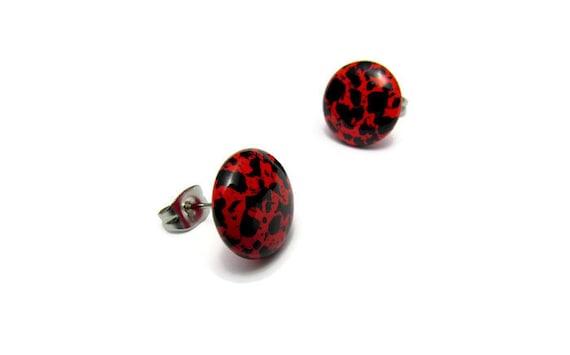 ceramics red red effect earrings Stud Earrings studs ceramics