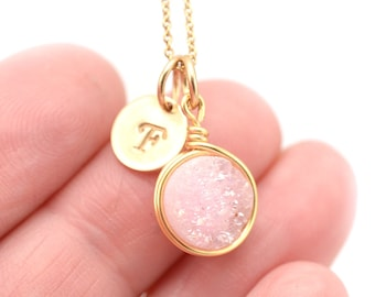 Blush Druzy Necklace | Hand Stamp Initial Charm | Blush Gold Necklace | Gift for her | Layer Necklace | Pink Druzy Jewelry