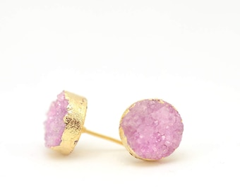 Pink Druzy Earrings | Pink Earrings | Druzy Studs | Gifts for Her | Sparkly Earrings | Mothers Day | Pink Stud Earrings