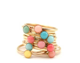Gold Stacking Rings • Minimal Jewelry • Mothers Ring • Delicate Gold Ring • Personalized Gold Ring • Enamel Ring • Boho Ring