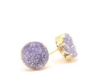 Violet Druzy Earrings • Purple Druzy Earrings • Violet Studs • Gifts for Her • Sparkly Earrings • Mothers Day • More Color Choices Available