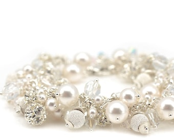 Pearl Bracelet | Crystal Bracelet | Bridal Bracelet | Bridal Jewelry | Wedding Jewelry | Crystal Jewelry | Swarovski Pearls & Crystals