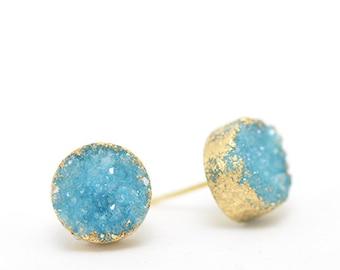 Mother's Day Gift • Aqua Druzy Earrings • Aqua Earrings • Gifts for Her • Sparkly Earrings • Gifts for Mom • Boho Earrings