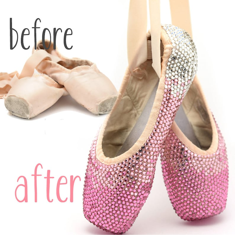 fb37f301aa59 Crystal Pointe Shoes Decorated Ballet Shoes Ballerina Gift