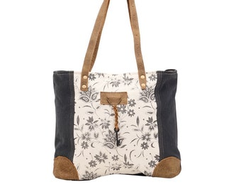 Myra Recycled Tote Canvas Leather Grey/White