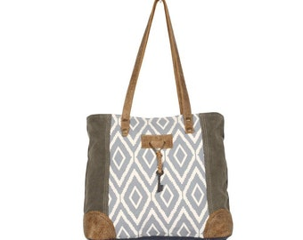 Myra Key Tote Bag Up-Cycled Canvas Leather