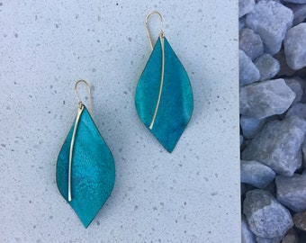 Verdigris Turquoise Patina Organic leaves Gold Wire