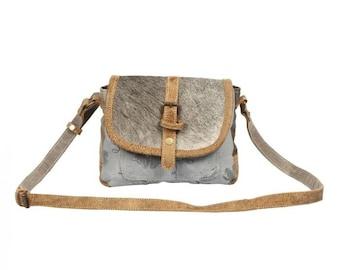 Myra Upcycled Small Flap Crossbody Bag Canvas Hairon