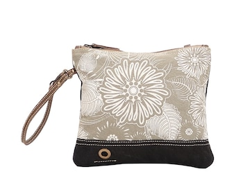 Myra Small Crossbody Bag Clutch Pouch Leather Recycled Canvas