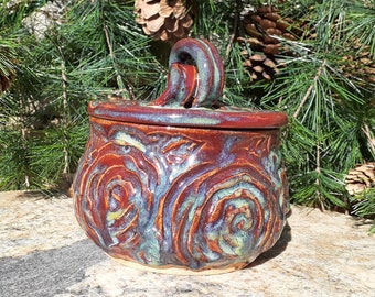 Pottery Butter Crock, Roses, Garlic Roaster, Dip Bowl, Cheese Dish, Leaves, Salt Cellar, Garden, Flowers, Butter Keeper, Made in Montana