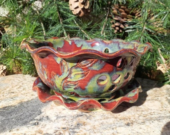 Pottery Berry Bowl, Fruit Bowl, Flowers, Cherry Bowl, Berry dish, Colander, Made in Montana, Serving Bowl, Ceramic Fruit Bowl, leaves