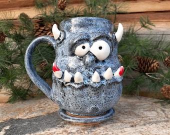 Pottery Monster Mug, Face Mug, El Diablo, Creature, Zombie, Made in Montana, Vampire, Devil Cup, Ceramic Monster, Undead, Living Dead