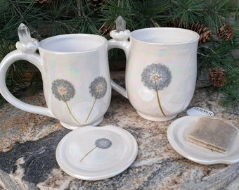 Dandelion Pottery Mug, Crystal Mug, Mother of Pearl, Quartz, Cup with Lid, Dandelion Puff Ball, Good Luck, April birthstone, Made in Montana