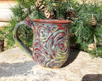Large Pottery Mug, Roses, Lidded Pottery Mug, Red and Green Coffee Cup, Cabbage Roses, Ceramic Cup with Lid, Cup with Lid, Made in Montana