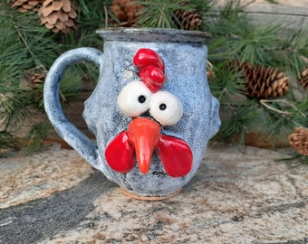Rooster, Chicken Mug, Face Mug, Chicken Cup, Hen and Chicks, Farm Animal, Poultry, Silly Mug, Funny, Crazy, Made in Montana, Farm Fresh