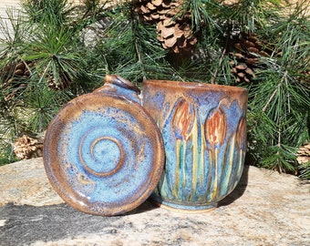 Cattail Mug, Pottery Cup with Lid, Thumb Rest, Nature Lover, Made in Montana, Coffee Mug, Tea Mug, Ponds, Lakes, Streams, Forests