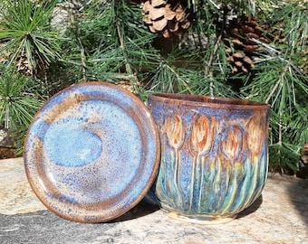 Large Cattail Mug, Pottery Cup with Lid, Dragonfly, Thumb Rest, Nature Lover, Made in Montana, Huge Coffee Mug, Tea Mug