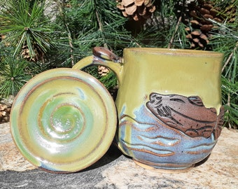 Cup with lid, Fish Mug, Pottery Mug, Lidded mug, Fishing, Steelhead, Trout, Salmon, gift for Dad, Fish lover, Made in Montana, Birthday Gift