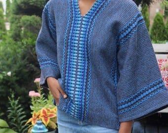 Boho top wide sleeve angel sleeve blue stripe blouse bohemain hippie gypsy women size S small