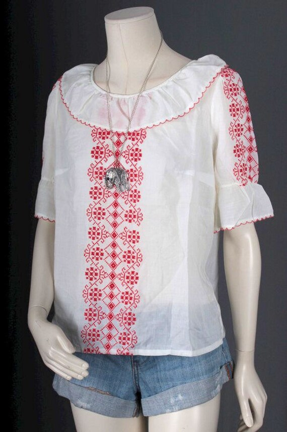 Vintage Peasant blouse white red embroidery Bohem… - image 4