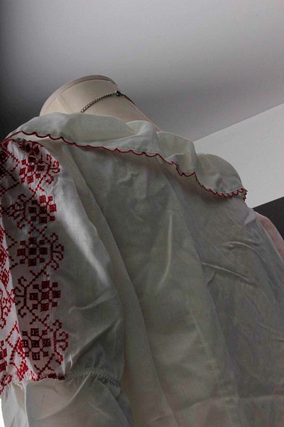 Vintage Peasant blouse white red embroidery Bohem… - image 5