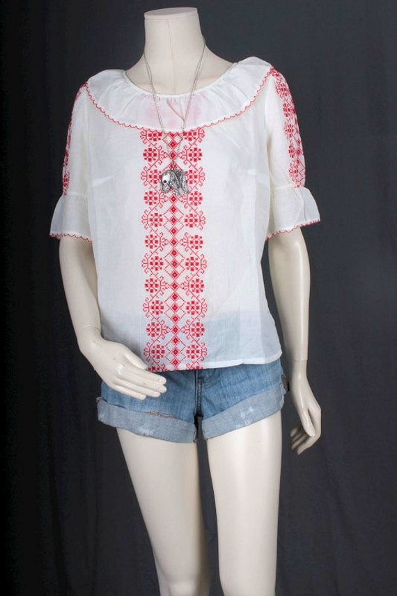 Vintage Peasant blouse white red embroidery Bohem… - image 3