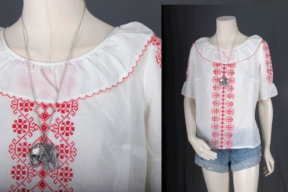 Vintage Peasant blouse white red embroidery Bohem… - image 1