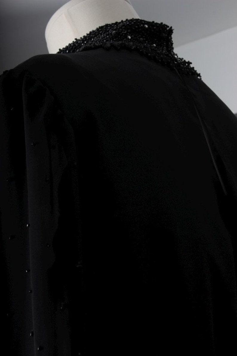 Vintage women black dress sequin beaded fifties chiffon women size S small
