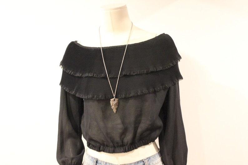 9582505a6bada Off shoulder pleated black long sleeve chiffon top blouse