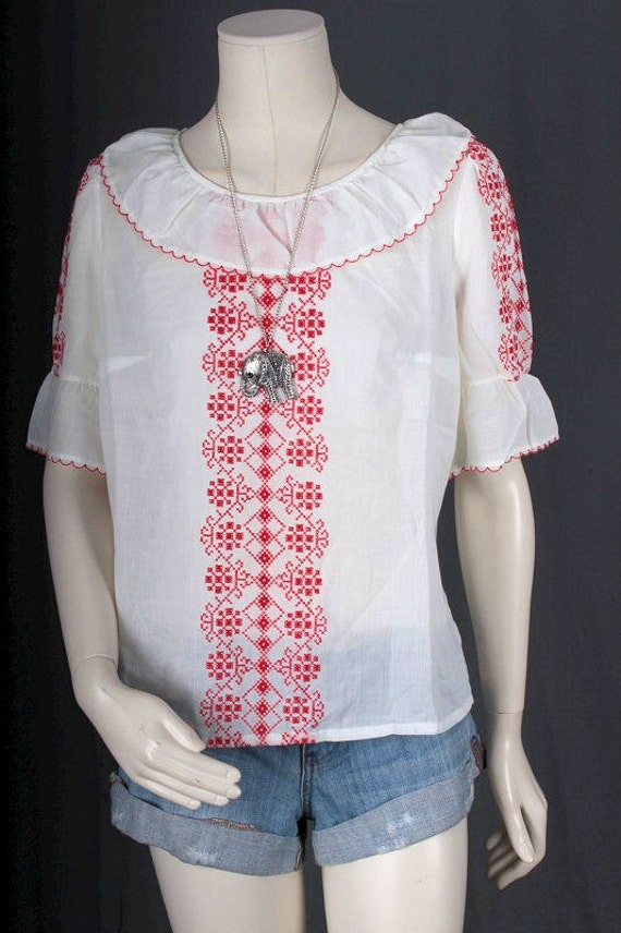 Vintage Peasant blouse white red embroidery Bohem… - image 2