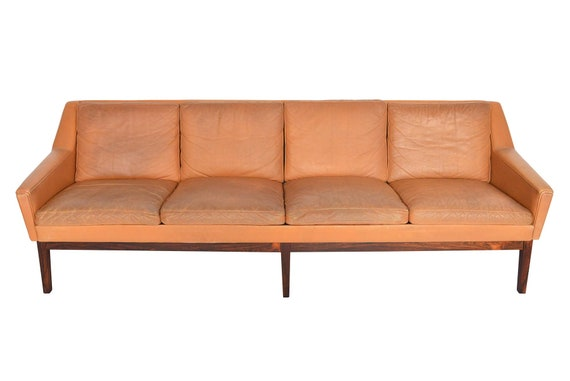 Danish Mid Century Modern Four Seat Sepia Leather Sofa