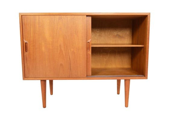 Small Danish Credenza : Small danish modern mid century credenza in teak by sven etsy