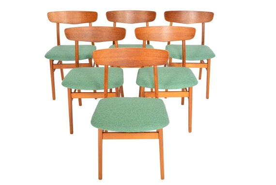 Fine Set Of Six Danish Mid Century Modern Teak Dining Chairs By Farstrup Bralicious Painted Fabric Chair Ideas Braliciousco