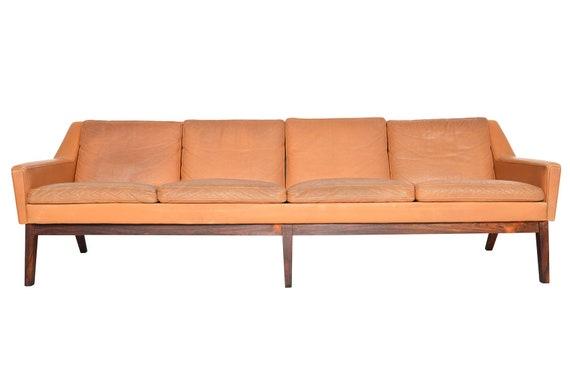 Danish Mid Century Modern Four Seat Sepia Leather Sofa Etsy
