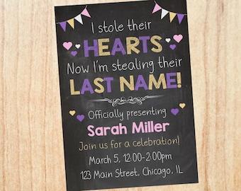 Adoption Invitation Girl PRINTABLE. adoption party invitation. invite DIGITAL stole their hearts stealing their last name