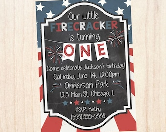 4th Of July Birthday Invitation Firecracker Stars And Stripes First 1st USA America