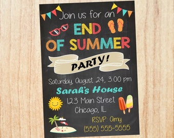 back to school chalkboard party invitation end of summer party etsy
