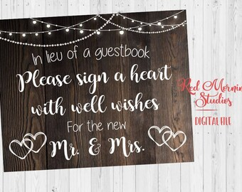 sign a heart sign rustic wedding guest book printable instant download alternative guestbook alternate guestbook rustic sign