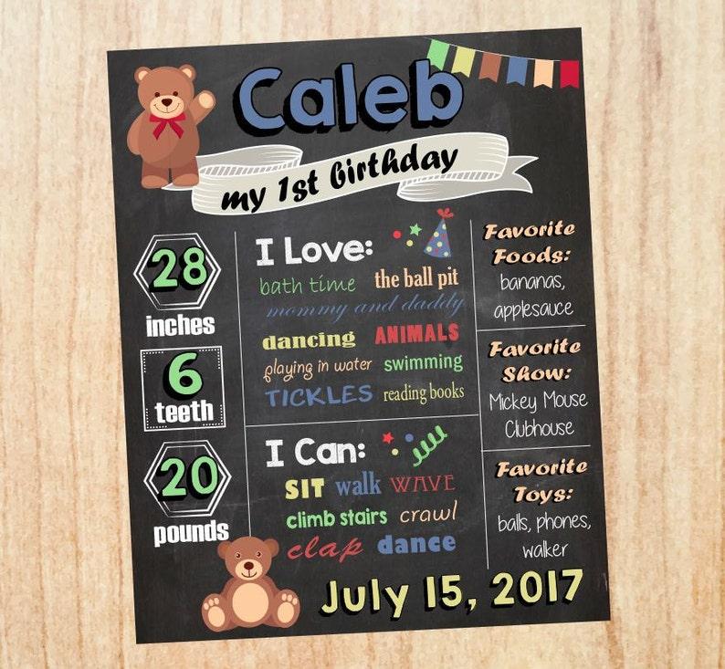 teddy bear picnic party decorations Teddy Bear Birthday sign teddy bear 1st birthday stats sign teddy bear milestones stats poster