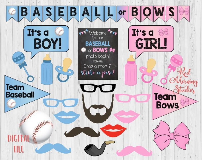 party games Baseball or Bows Gender Reveal Party photo booth Baseball or Bows Photo Booth Props PRINTABLE photobooth decorations.