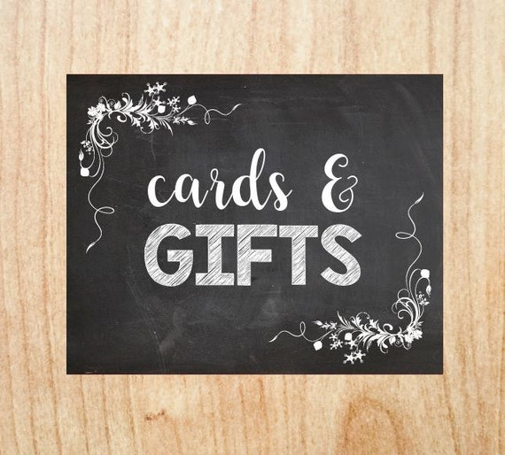Cards and Gifts Wedding sign PRINTABLE card gift table chalkboard digital instant download