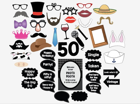 picture about Free Printable Photo Booth Props Birthday named 50th birthday photograph booth props PRINTABLE 50th bash photobooth 50 50