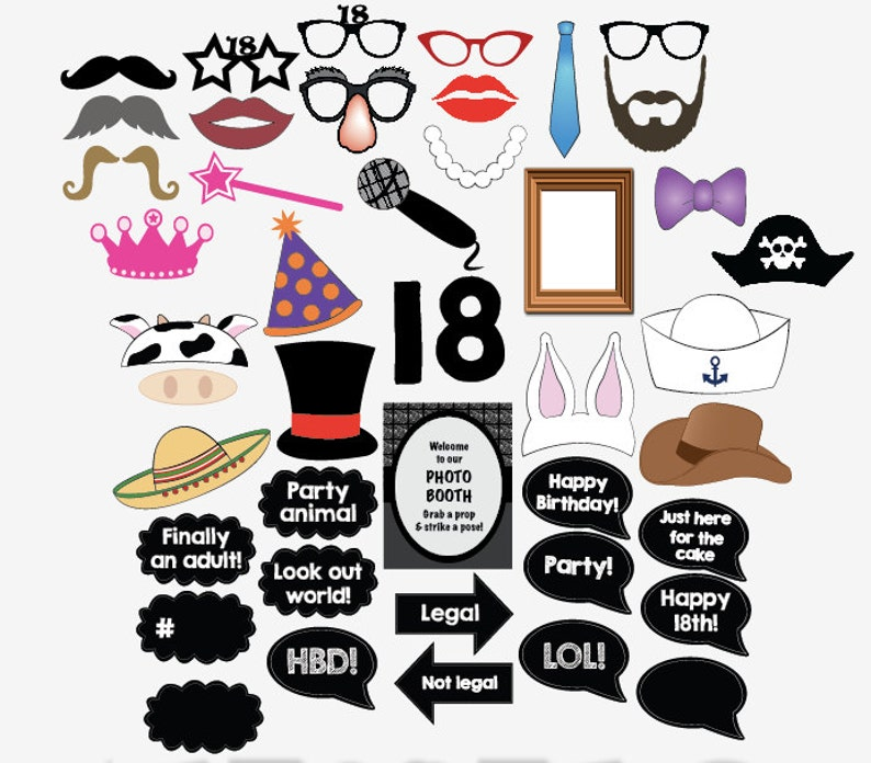18th Birthday Photo Booth Props PRINTABLE 18 Party Photobooth